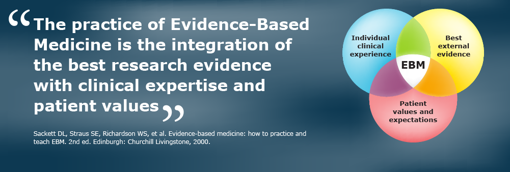 """The practice of Evidence-Based Medicine is the integration of the best research evidence with clinical expertise and patient values"" (Sackett DL, 2000)"